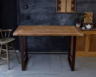 Rustic Modern Minimalist Reclaimed Barn Wood Pub Table Hightop Bar Farmhouse Breadboard end Metal Steel Base
