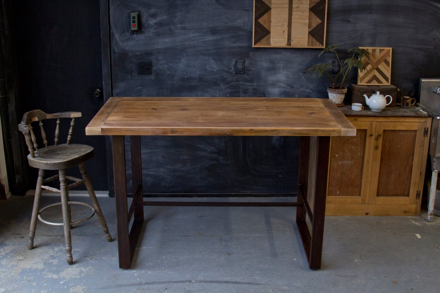 Wooden Bar Tables ~ Rustic modern minimalist reclaimed barn wood pub table hightop