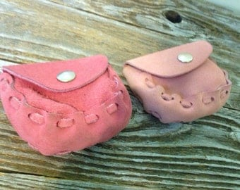 Vintage Pair of Pink Suede Pouches/Purses