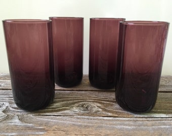 Vintage Set of 4 Libbey Purple Glasses, Mid Century Barware
