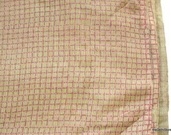 Vegetable Dye HandPrinted Geometric Print Pure Tussah Silk Fabric Sold by Yard