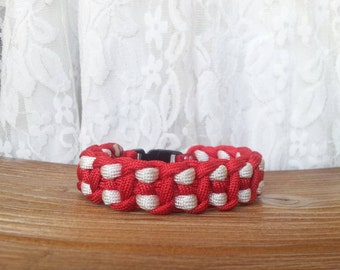 Two Colored Paracord bracelet - Red and White