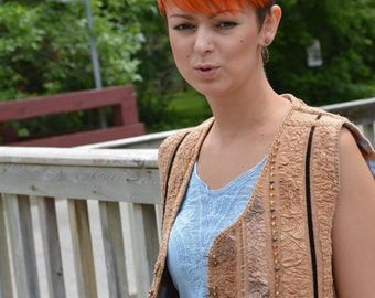 Eco style and boho chic fashion felted vest from natural silk and A-Grade wool (with antique fabric, beads and hand embroidery) OOAK