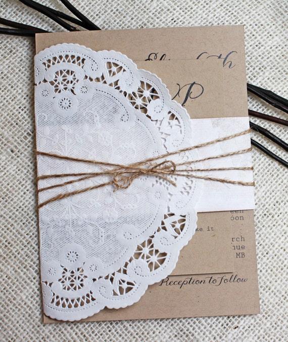 Items Similar To Shabby Chic, Lace Wedding Invitation
