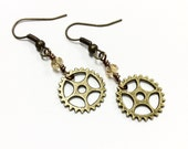 TINY GEAR earrings bronze gear earrings charm sprocket earrings steampunk earrings