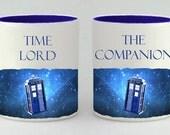 Valentine's Day Mug Gift Set, Doctor Who Inspired Coffee Mug Set, Coffee Cup, Doctor Who Gift, Time Lord , The Companion, Mug, Mugs