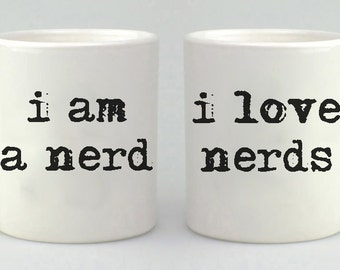 Valentine's Day Mug Gift Set, i am a nerd, I love nerds,  Coffee Mug Set, Coffee Cup, Couples Gift,  Mug, Mugs
