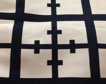 Beautifully Chic White and Navy Silk/Cotton Blend Print Fabric - Fabric By The Yard