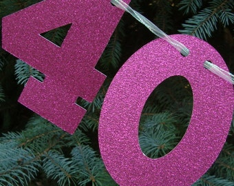 40 & Fabulous Birthday Banner, 40th Birthday Garland Decoration, 40th Birthday Banner, Fortieth Happy Birthday Glitter Banner,40th Milestone