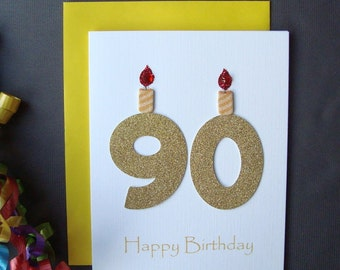 90th Birthday Card, 90th Milestone Birthday Card, 90th Birthday Greeting Card, Ninetieth Happy Birthday Greeting Card, The Big 90 Card