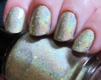 CLEARANCE - MINI - I Can Kill You With My Brain Nail Polish - holographic green with holo glitter