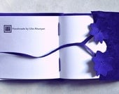 S_A_L_E Purple Suede-Leather Handstitched Square Journal With Flowers and tree shape tye