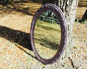 Beautiful Purple Shabby Chic Mirror, Vintage Mirror, Filgree Mirror, Nursery Mirror, Shabby Chic Mirror, Plum Mirror, Ornate Mirror