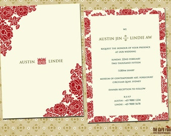 Oriental Floral wedding invite with double happiness logo - Printables