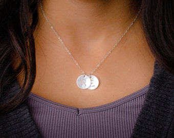 Large Two Initial Necklace - Sterling Silver Custom Initial Pendants, 15mm Discs, Three Initials or More Available too! Mommy Necklace
