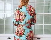 219, Floral kimono crossover robe, CUSTOM, Bridesmaids robe, spa robe, beach cover up, dressing up robe, maternity, bride, bridal party