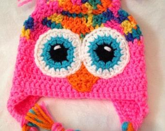 Rainbow and pink Owl Earflap Beanie