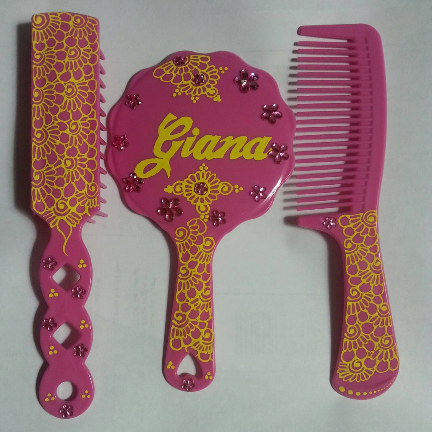 Children S Pink Comb Brush And Mirror Set Personalized