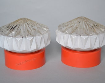 Set of two Retro ceiling lamps / light fixtures - seventies