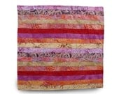 Stripe Throw Pillow Cover Pink & Red Patchwork Pillow Cotton Batik Ethnic Pillow Cover