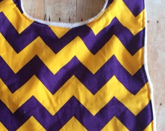 LSU bib, chevron LSU, purple and gokd bib, baby bib, LSU baby bib
