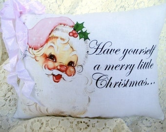 PINK Santa Pillow, CHRISTMAS, Holiday Decor, Pink Christmas Pillow, Shabby Chic Pillow, Pink Santa Claus, Pink Holiday Pillow
