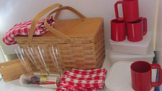 Wooden Picnic Basket Set : Brookstone classic picnic basket set for woven wicker