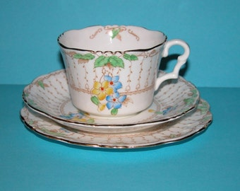 Vintage Early Collingwood Hand Decorated Bone China Cup, Saucer and Plate (Trio)