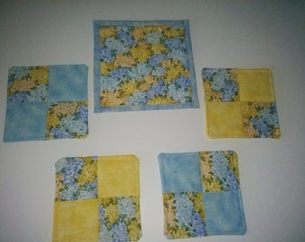 COASTERS 4 and    MUG MAT, Blue and  yellow,100 percent Cotton Handmade