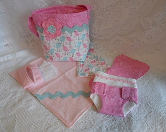 Doll Diaper Bag Set, Pink and Blue Birds for Boy Doll or Girl Doll, Includes Bag, Changing Pad, Diapers, Burp Cloth, Wipes and Case