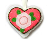 """Valentine's Day Ornament """"Dual Heart"""" made out of felt . Decorated with beads. Heart cushion"""