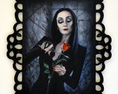 ORIGINAL PAINTING Morticia Addams Family Art Oil Painting With Ornate Decorative Frame 8x10
