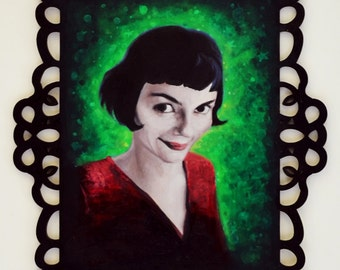ORIGINAL PAINTING Amelie Poulain Fan Art Gift Green and Red Oil Painting With Ornate Decorative Black Frame 8x10