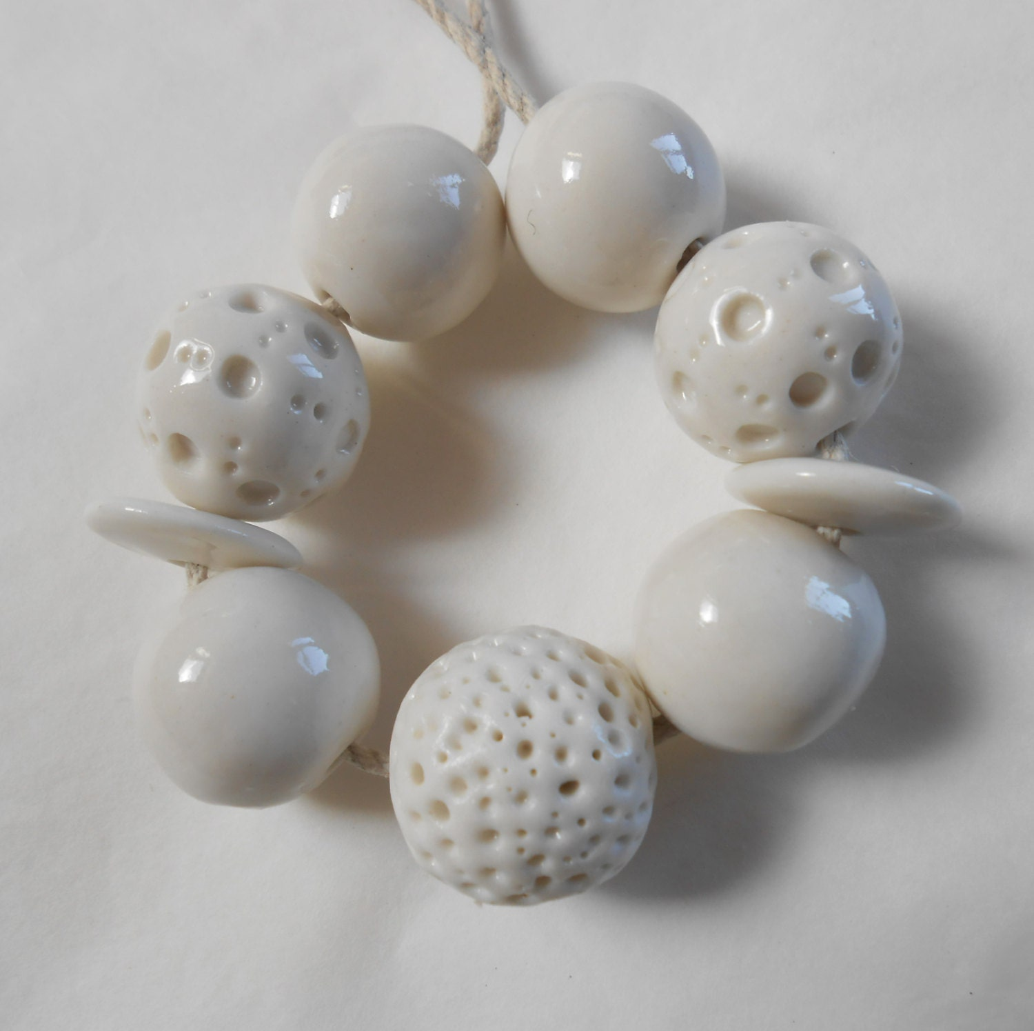 white porcelain ceramic bead set handmade by