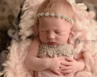 baby headband, newborn headband, bling headband, baby girl headband, vintage headband, rhinestone headband, baptism headband, wedding head