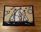 Bluenose Schooner Hooked Wool Wall Hanging