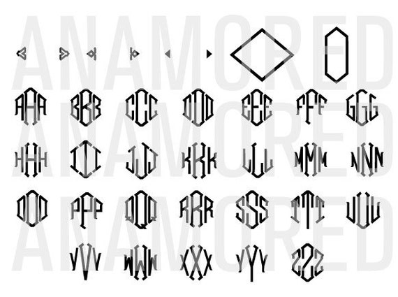 Diamond monogram vector alphabet font design instant by