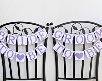 FREE SHIPPING, Bride To Be & Groom To Be chair signs, Bridal shower banners, Engagement party decor, Bachelorette party decoration, Purple
