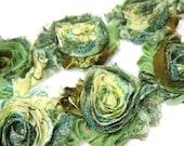 GREEN PEACOCK Shabby Rose Trim- Shabby Flowers- 1/2 Yard or 1 Yard- Shabby Chiffon Trim- Wholesale Shabby Flowers- Shabby Chic