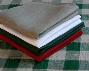 Dinner napkins set of 4 red white green gray color mix natural linen napkins 16 inch serviette