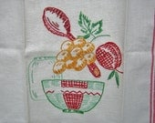 Vintage Unused Embroidered Linen Tea Towel Kitchen Towel CRISP Mid Century FAB