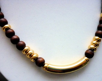 Vintage Finnish Wooden Necklace / Brown Wood and Gold Beads