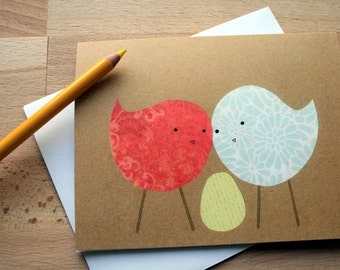 CARD: Welcome, Baby! - Blank card, Gender-Neutral, Birds with their Egg