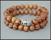 SET of 2 - Silver BUDDAH and WOOD Stretch Bracelet - His or Hers Wood Beads / Buddha - Tibetan Stretch Unisex Men Stacking Bracelet - 89