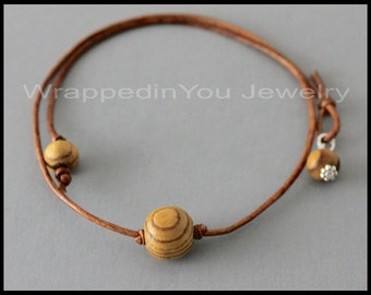 Knotted WOOD CHOKER - Large Wood Ball on Natural Leather Cord - Lariat Closure w/ Wire Wrapped Dangle - Pick COLOR / LENGTh - Usa - 13