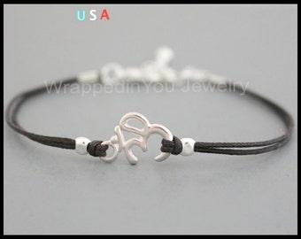 OM Charm Bracelet - Adjustable Dainty Cotton Cord Bright Silver Ohm Stacking Bracelet - Zen Yoga Buddhist Symbol - SIZE / COLOR - Usa