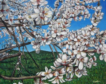 Original acrylic painting - Almond Flowers