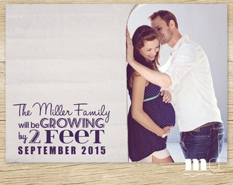 Pregnancy announcement, Printable Photo Card, Growing by 2 Feet, Family Photo Pregnancy Announcement, FREE Facebook Web Image, PRINTABLE
