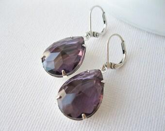 Purple Teardrop Earrings, Rhinestone Earrings, Amethyst, Old Hollywood Glam, Purple Bridesmaid Earrings, Statement Jewellery, Silver Plated.