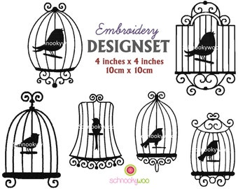 INSTANT DOWNLOAD - Embroidery design set BIRDCAGES for 4x4 inch frame